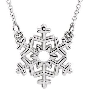 """14K White Snowflake 16"""" Necklace"""