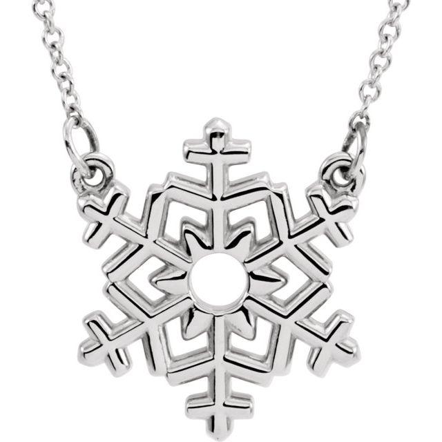 14K White Snowflake 16