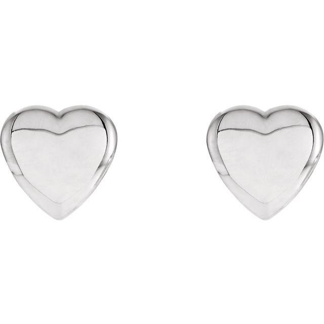 14K White Heart Earrings