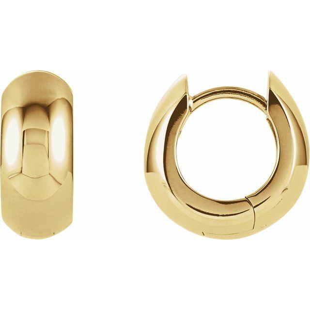 14K Yellow 12.7x5.5 mm Hinged Huggie Earrings