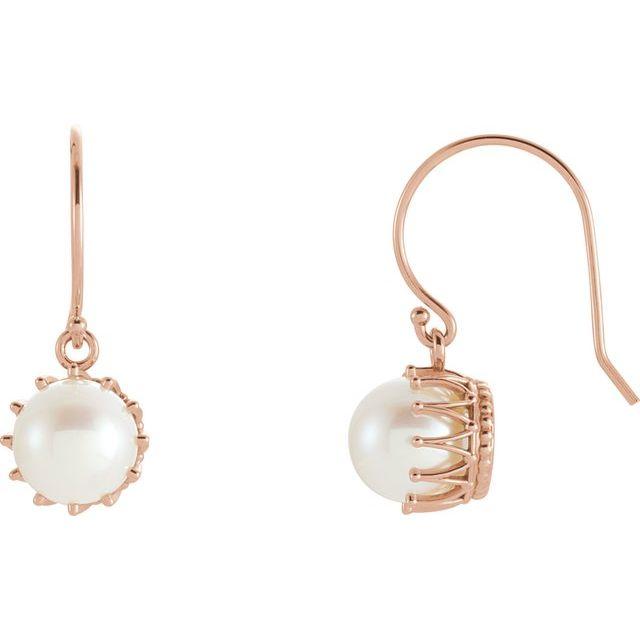 14K Rose 7.5-8 mm Freshwater Cultured Pearl Crown Earrings