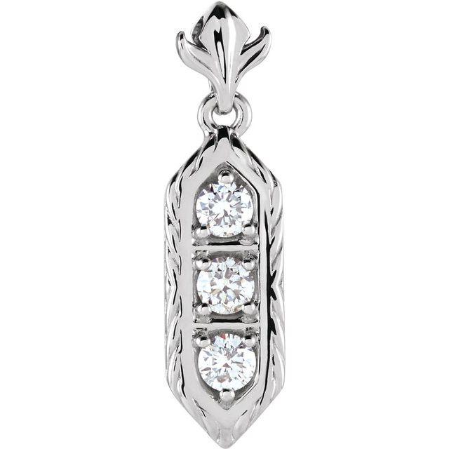 14K Yellow 1/2 CTW Diamond 3-Stone Pendant