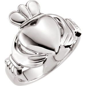 14K White 10.5 mm Claddagh Ring Size 11
