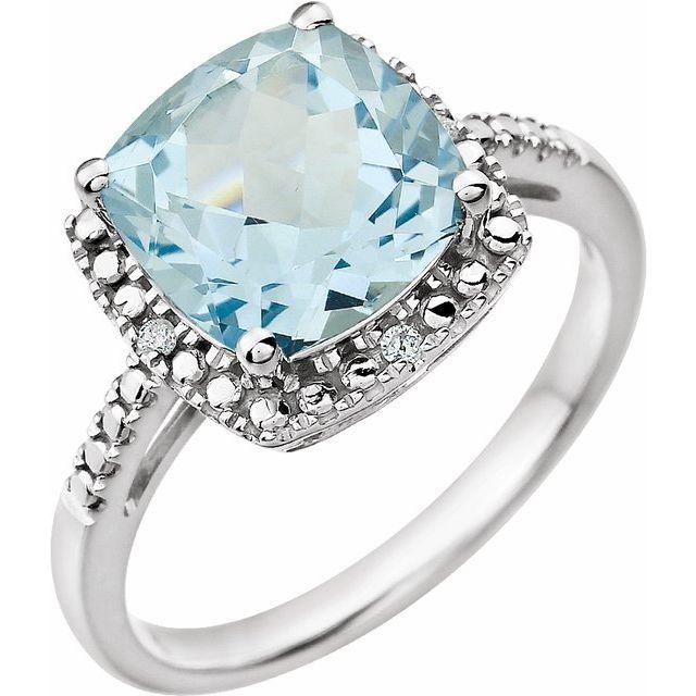 14K White Sky Blue Topaz & .03 CTW Diamond Ring