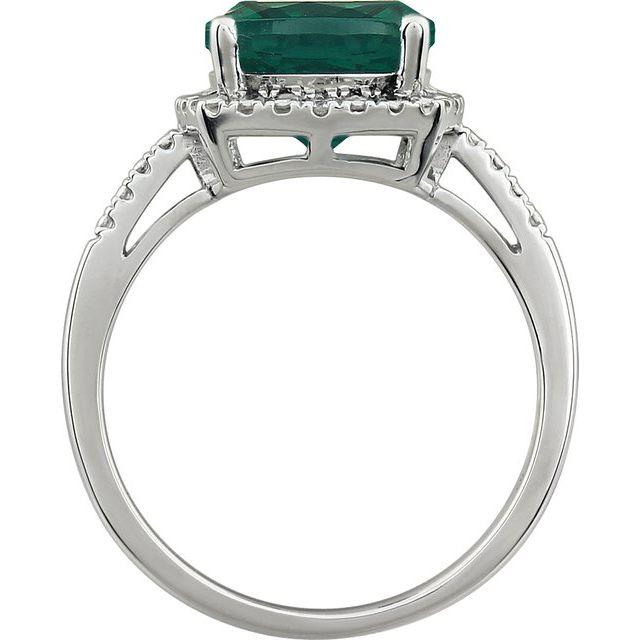 14K White Created Emerald & .03 CTW Diamond Ring