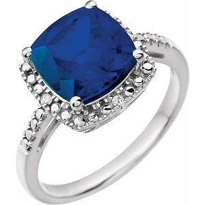 14K White Created Blue Sapphire & .03 CTW Diamond Ring