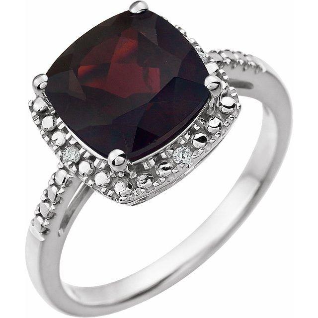 14K White Mozambique Garnet & .03 CTW Diamond Ring