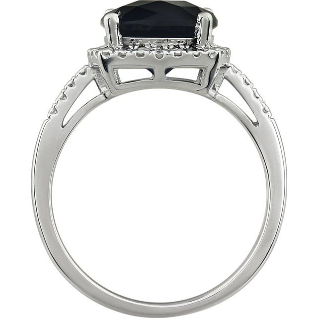 14K White Onyx & .03 CTW Diamond Ring