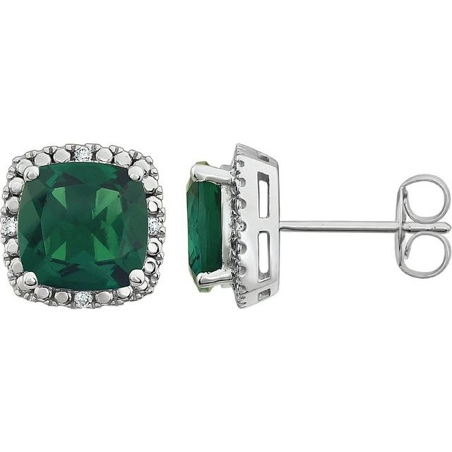 14K White Created Emerald & .06 CTW Diamond Earrings