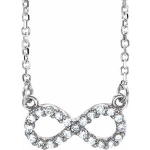 "14K White 1/6 CTW Diamond Infinity 17"" Necklace"
