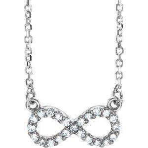 "14K White .08 CTW Diamond Infinity-Inspired 16"" Necklace"