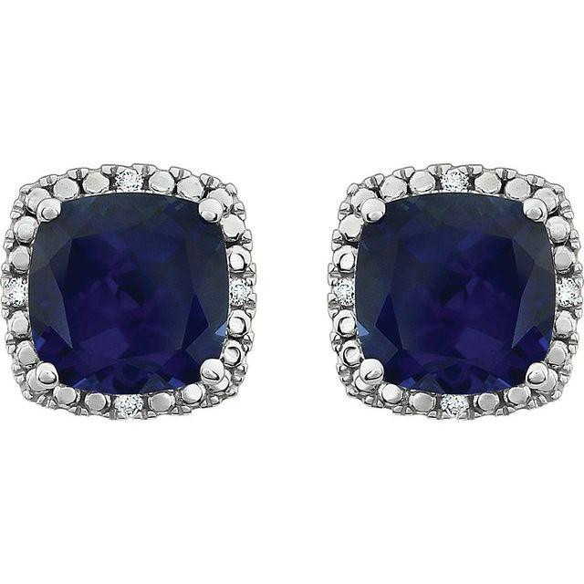 14K White Lab-Grown Blue Sapphire & .06 CTW Natural Diamond Earrings