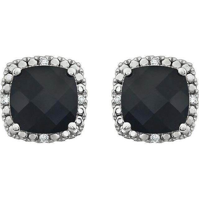 14K White Natural Black Onyx & .06 CTW Natural Diamond Earrings