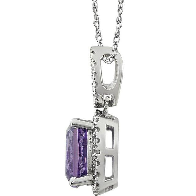 14K White Amethyst & .03 CTW Diamond 18