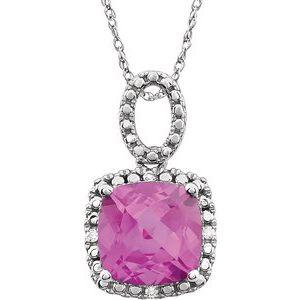 "14K White Created Pink Sapphire & .03 CTW Diamond 18"" Necklace"