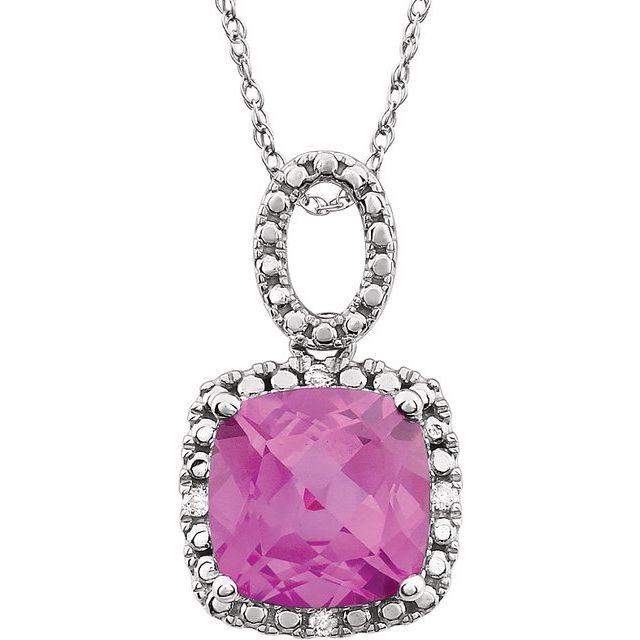 14K White Created Pink Sapphire & .03 CTW Diamond 18