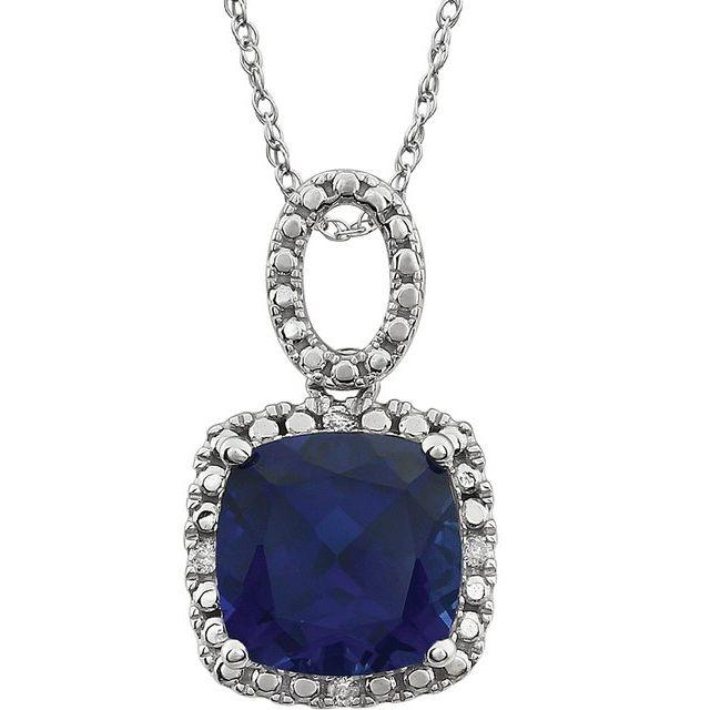 14K White Created Blue Sapphire & .03 CTW Diamond 18