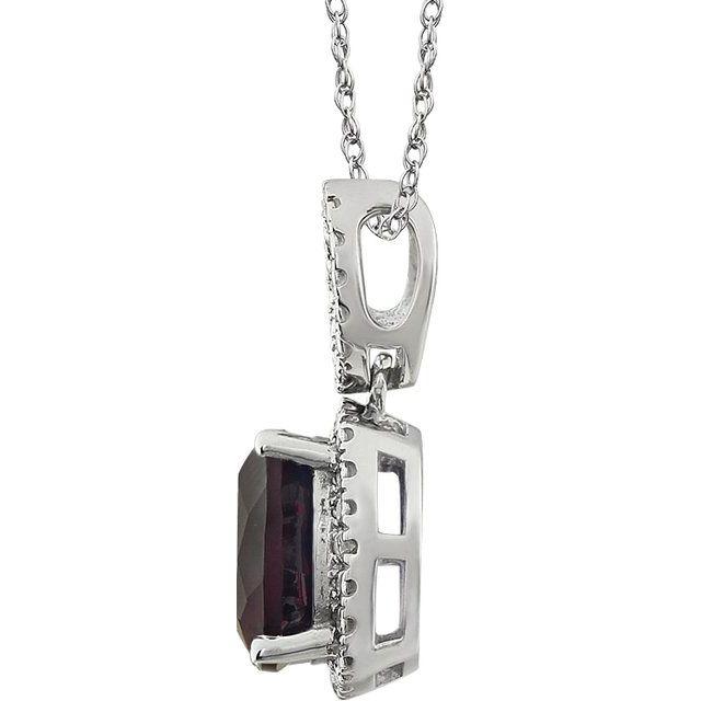 14K White Mozambique Garnet & .03 CTW Diamond 18