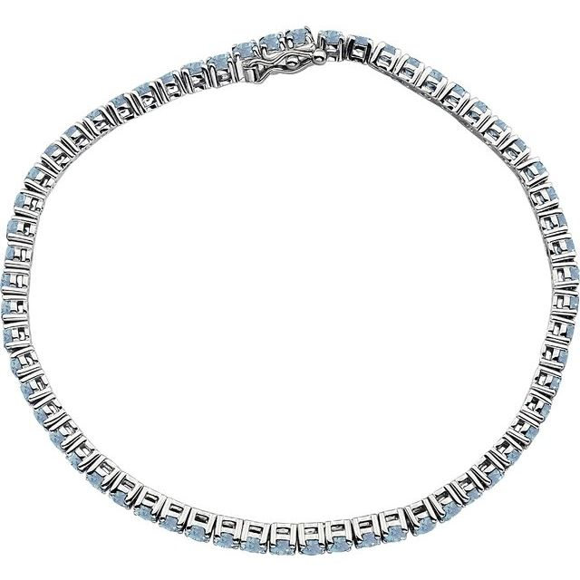 "14K White Aquamarine Line 7.25"" Bracelet"