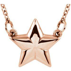 """14K Rose Star 18"""" Necklace"""