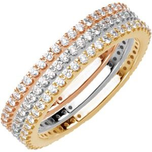 14K White 1/3 CTW Diamond Stackable Ring Size 5