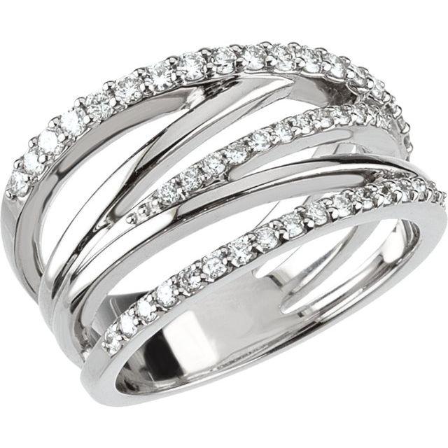 14K White 1/2 CTW Diamond Criss Cross Ring