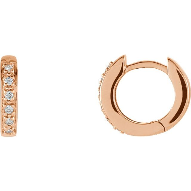 14K Rose 1/10 CTW Diamond Huggie Earrings