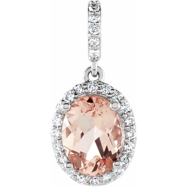 14K White Morganite & 1/6 CTW Diamond Pendant