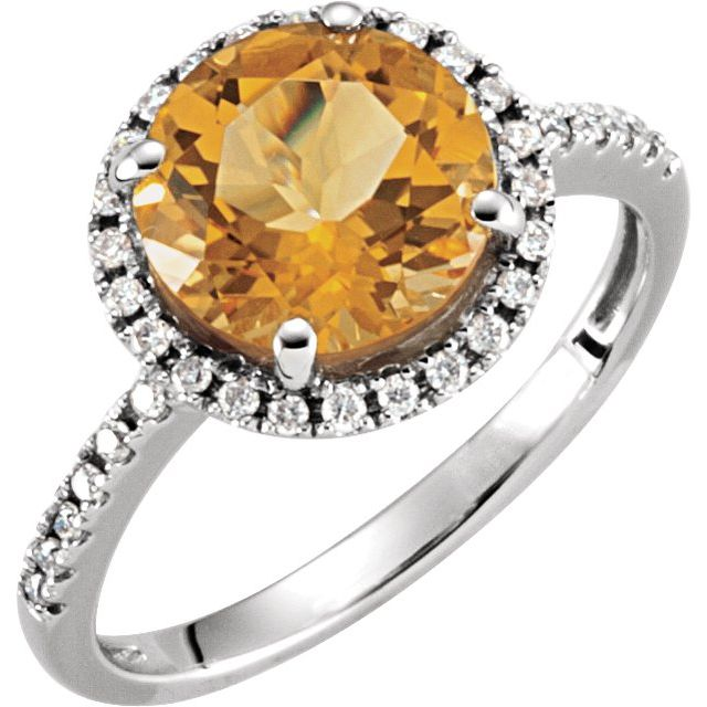 14K White Natural Citrine & 1/6 CTW Natural Diamond Ring