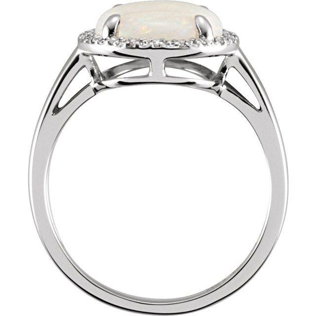 14K White Natural Opal & .07 CTW Natural Diamond Ring