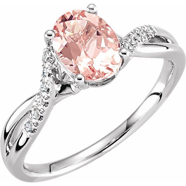 14K White Natural Morganite & .06 CTW Natural Diamond Ring Size 7