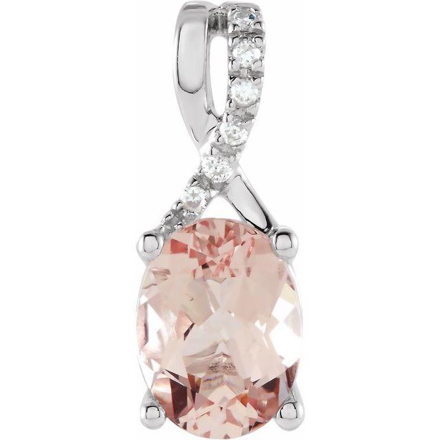 14K White Morganite & .03 CTW Diamond Pendant