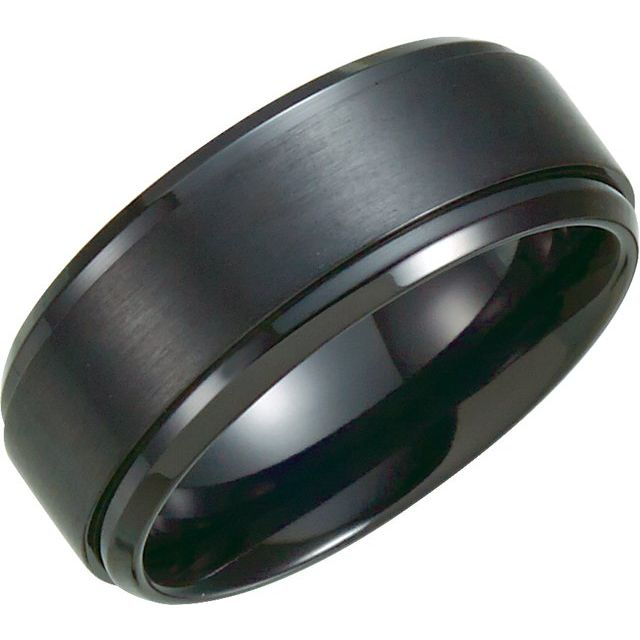 Black Titanium 9 mm Ridged Band Size 9