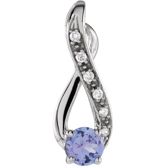 14K White Tanzanite & .04 CTW Diamond Pendant