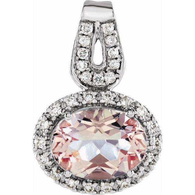 14K White Morganite & 1/8 CTW Diamond Pendant