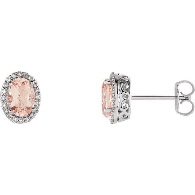 14K White Morganite & 1/5 CTW Diamond Earrings