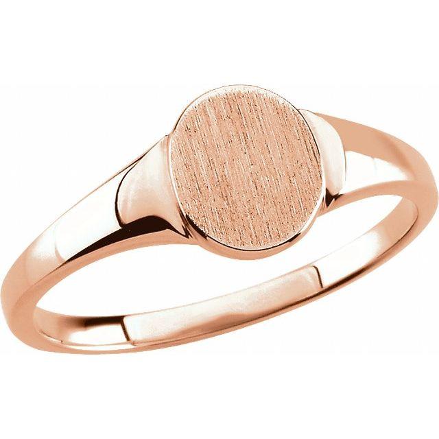 14K Rose 7x6 mm Oval Signet Ring Size 7