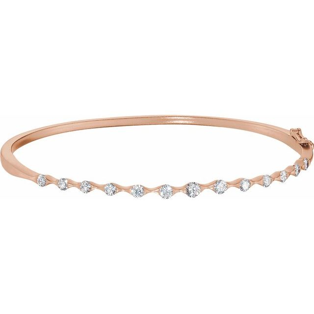 14K Rose 1 CTW Diamond Bangle Bracelet