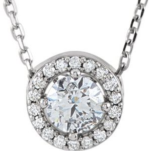 "14K White 3/8 CTW Diamond Halo-Style 16"" Necklace"