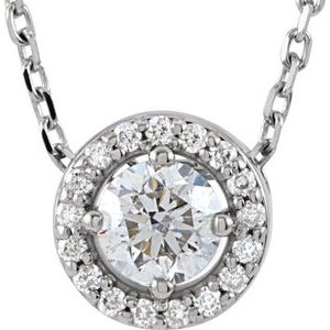 "14K White 1/5 CTW Diamond Halo-Style 16"" Necklace"