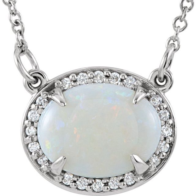 14K White Opal & .05 CTW Diamond Halo-Style 16.5