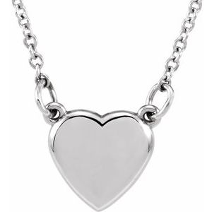 """14K White Heart 18"""" Necklace"""
