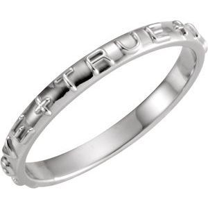 14K White True Love Chastity Ring Size 7