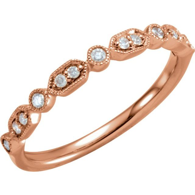 14K Rose 1/8 CTW Diamond Ring Size 7
