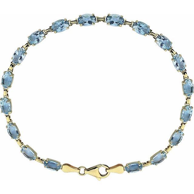 """14K Yellow Sky Blue Topaz 7.25"""" Bracelet"""
