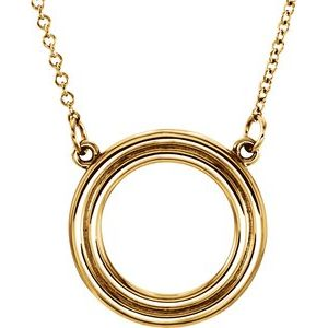 "14K Yellow Circle 16"" Necklace"