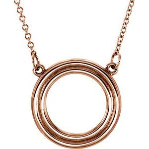 """14K Rose Circle 16"""" Necklace"""