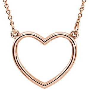 "14K Rose 13.8x13 mm Heart 16"" Necklace"