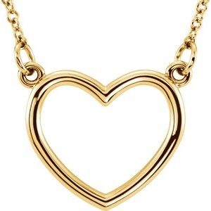 "14K Yellow 13.8x13 mm Heart 16"" Necklace"