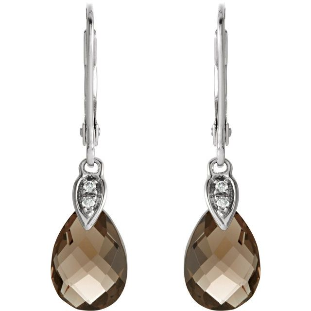 14K White Smoky Quartz & .025 CTW Diamond Earrings
